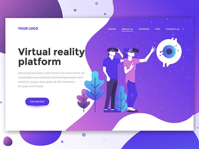 Landing page header for Virtual Reality Platform
