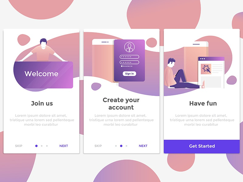 Flat Design Onboarding Concepts interface mockup character design flat app onboarding screen ux ui