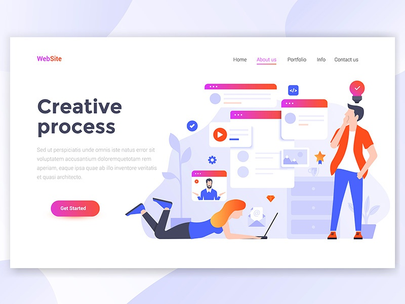 Flat Modern Design Of Landing Page Template Busine Woman Man People Creative Isometric Ilration Web