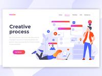 Flat Modern design of Landing Page template