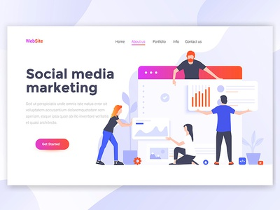 Social Media Marketing Landing page header business woman man people creative teamwork isometric illustration web template page landing