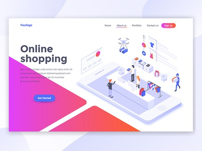 Landing page header - Online Shoppin ui template online shopping man woman people isomatric 3d landing isometric creative