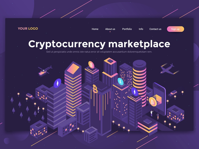 Cryptocurrency Marketplace woman page design ui ux man people template landing isometric illustration 3d creative
