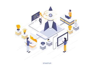 Startup Isometric Illustration design web man team ui ux development business woman isometric 3d people illustration creative