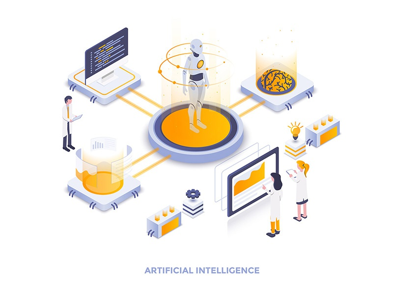 Artificial Intelligence brain developing robot artificial intelligence man woman 3d isometric illustration creative