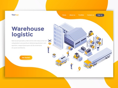 Warehouse logistic design development ui business page woman template landing isometric 3d people illustration creative