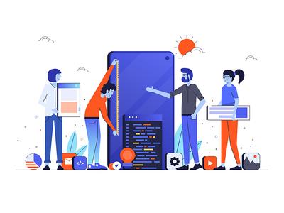 App Development charachter teamwork developement app vector design ui business people woman man illustration creative
