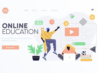 Flat Modern design Illustration of Online Education learning education development design ui page landing woman man illustration creative