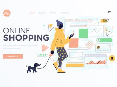 Flat Modern design Illustration of Online Shopping creative design online shopping vector ui page landing woman illustration creative