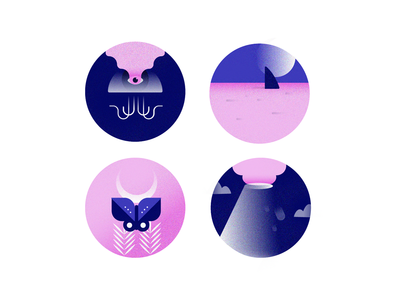 Nightcreatures illustrator dark clouds gradient circles design texture flat illustration blues pink jellyfish volcano sea shark butterfly moth moon nyctophilia night