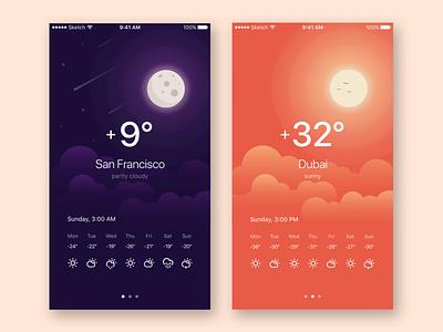Weather App san francisco climate clouds climacons moon sun illustration app weather ios ux ui