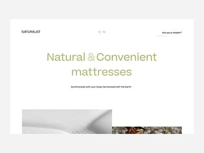 Naturalist Landing Page Design mattress natural experience user interface page landing minimal ux identity website web ui interaction branding design