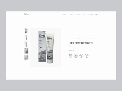 Web Design for Ecodenta - Product page interaction vaicius vilius web design website web ux ui toothpaste packaging product parallax page package organic natural landing ecodenta eco design