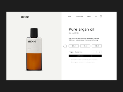 Mone Natural Skincare Product Page natural parallax effect scroll minimal landing branding ux ui animation interaction cart e-shop ecommerce product front page website design web