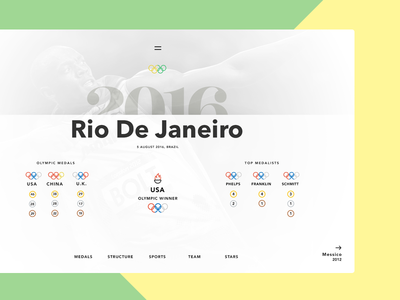 Olympics WIP 2016 rio graphicdesign awwwards olympic interface ux ui website design graphic web