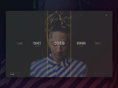 Hip Hop Awards menu design web ux ui rap interface hero header black dark award