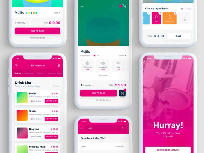 Makr Shakr App - UI Design configurator builder drink flat icon food illustration interaction iphone graphic design ios mobile app ux interface graphic ui design