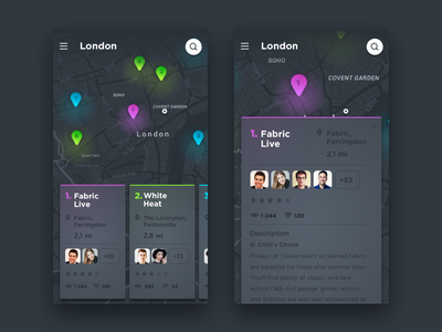 Event App Concept map card cards animation gif dark microinteraction interaction ios event app event