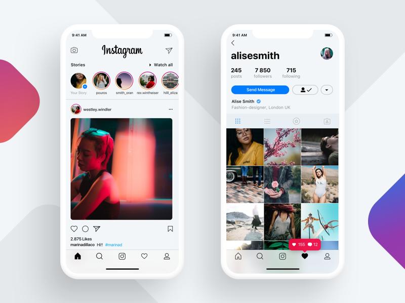 Iphone X Instagram Concept iphonex white concept photo social clean ui instagram iphone x