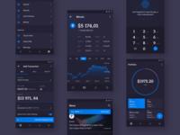 Crypto App Concept dark light interface transaction tracker concept money bitcoin crypto material app