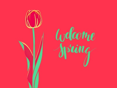 Welcome spring happiness happy season flowers green welcome spring
