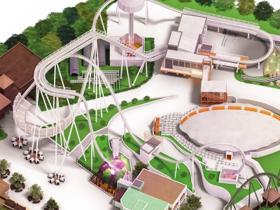 Gardaland Park map postproduction park fun composition cgi attractions amusement 3d