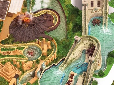 Gardaland Park map postproduction attractions composition park fun cgi amusement 3d