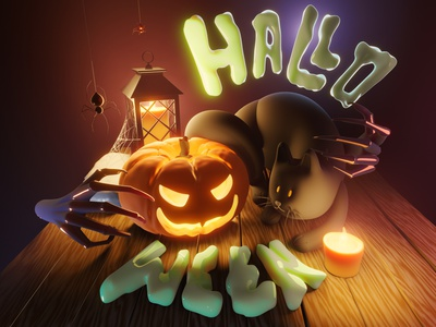 Halloween! composition funny 3d character spiders cat pumpkin halloween
