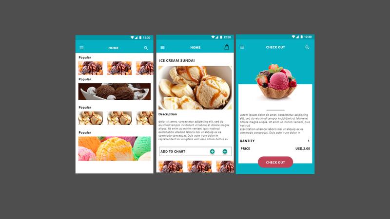 Ice cream order screen ios ui design