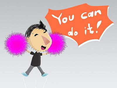 You can do it! chat kawaii cute happy icon emoticon emoji social sticker