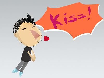 Kiss! cartoon love kiss chat kawaii cute happy icon emoticon emoji social sticker
