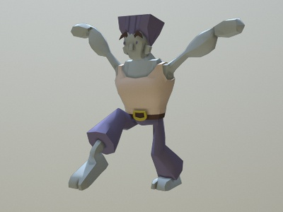 Urban Figther Blue gaming karate c4d cinema4d 3d lowpoly videogame figther