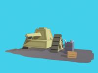 Video Game War Tank - Low Poly