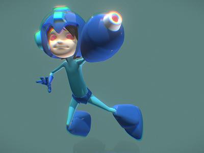Megaman 3D FanArt dammne cinema 4d c4d render gaming videogame design character 3d capcom megaman