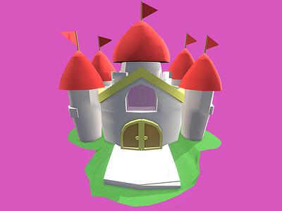 Princess Castle - Low Poly 3D Model dessignare peach pink illustration lowpoly design dammne cute kawaii cinema 4d c4d assets gaming 3d 3d model videogame kingdom castle princess