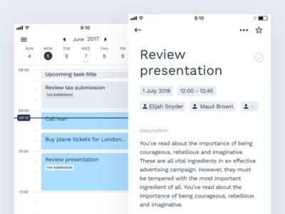 Ahead for iOS management complete invite task details tasks calendar ios