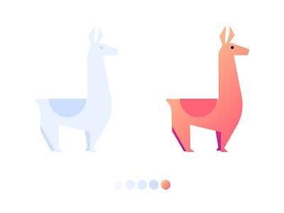 WIP Llama Party Illustration style testing colorscheme alpaca llama gradients illustration wip