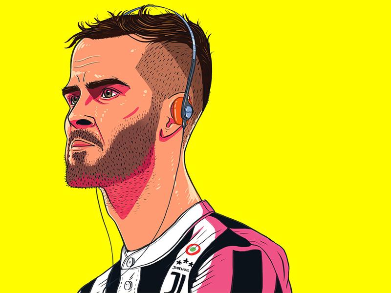 Miralem Pjanic portrait editorial illustration illustration soccer football