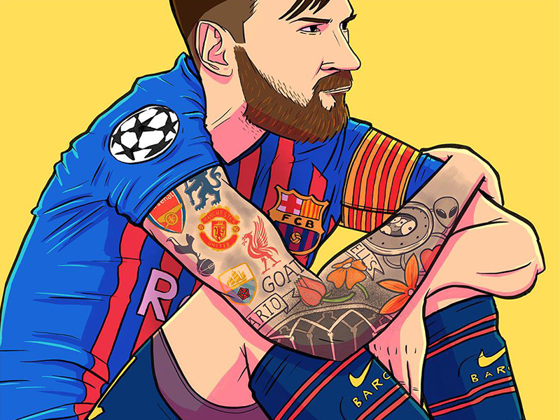 Lionel Messi barca ucl messi portrait editorial illustration illustration football soccer