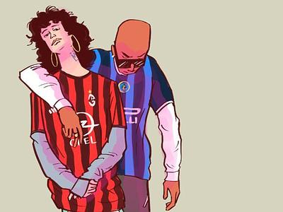 Fans milan inter milan ac milan character design serie a calcio illustration soccer football