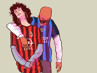 Fans milan inter milan ac milan character design serie a calcio illustration soccer football