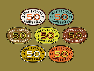 Tony's Coffee 50th Anniversary Logo retro vintage badge bellingham packaging branding coffee