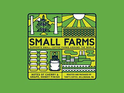 Small Farms Coffee label mockup illustration branding colorful sun boat kraft roasting farm trees label packaging bellingham vintage coffee