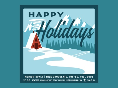 Tony's Coffee Happy Holidays Blend snowy bag branding bellingham craft coffee christmas label script mountains trees snow cabin holiday winter packaging illustration retro vintage coffee