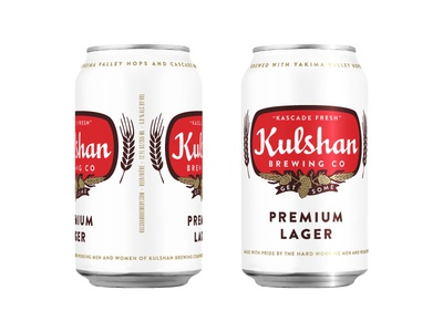 Kulshan Premium Lager Can logo vintage retro beer hops lager bellingham brewery packaging kulshan can
