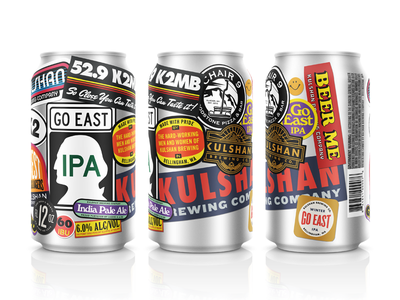 Go East IPA Can beer can stickers ipa aluminum collage brewery beverage mockup vintage