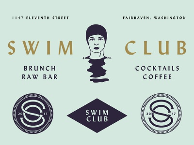 Swim Club No. 1 illustration lettering branding monogram specimen logo brand