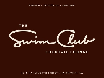Swim Club No. 2 vintage lettering hand cocktails logo restaurant bar