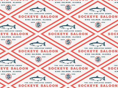 Sockeye Saloon Logo pattern lockup sockeye salmon fish monogram logo brand