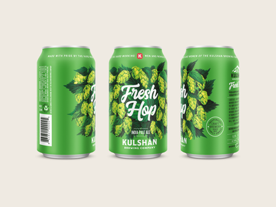 Kulshan Fresh Hop green branding illustration ipa bellingham hops packaging beverage can fresh hop brewery beer